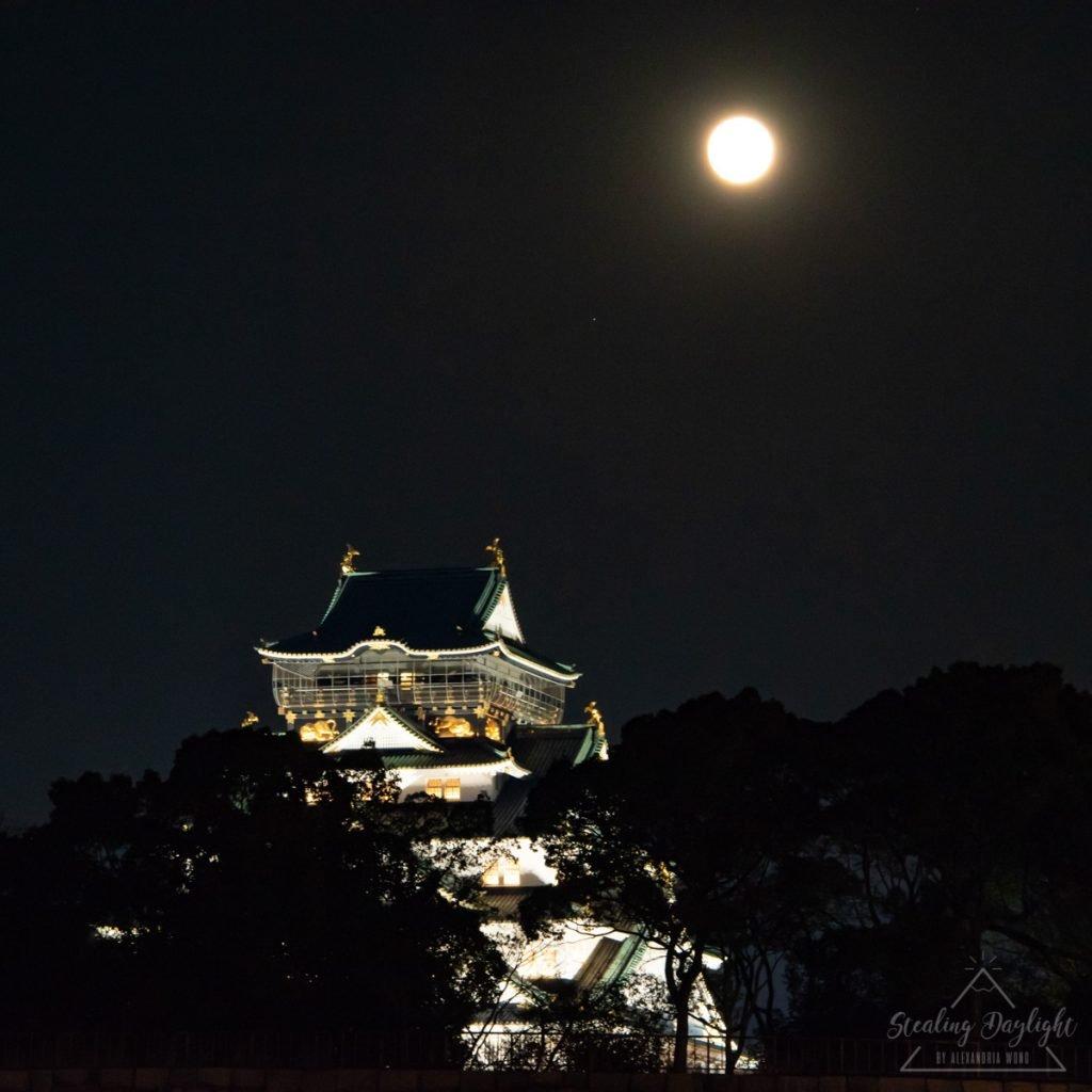 大阪城公園 超級月亮